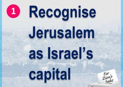 Recognise Jerusalem as Israel's capital