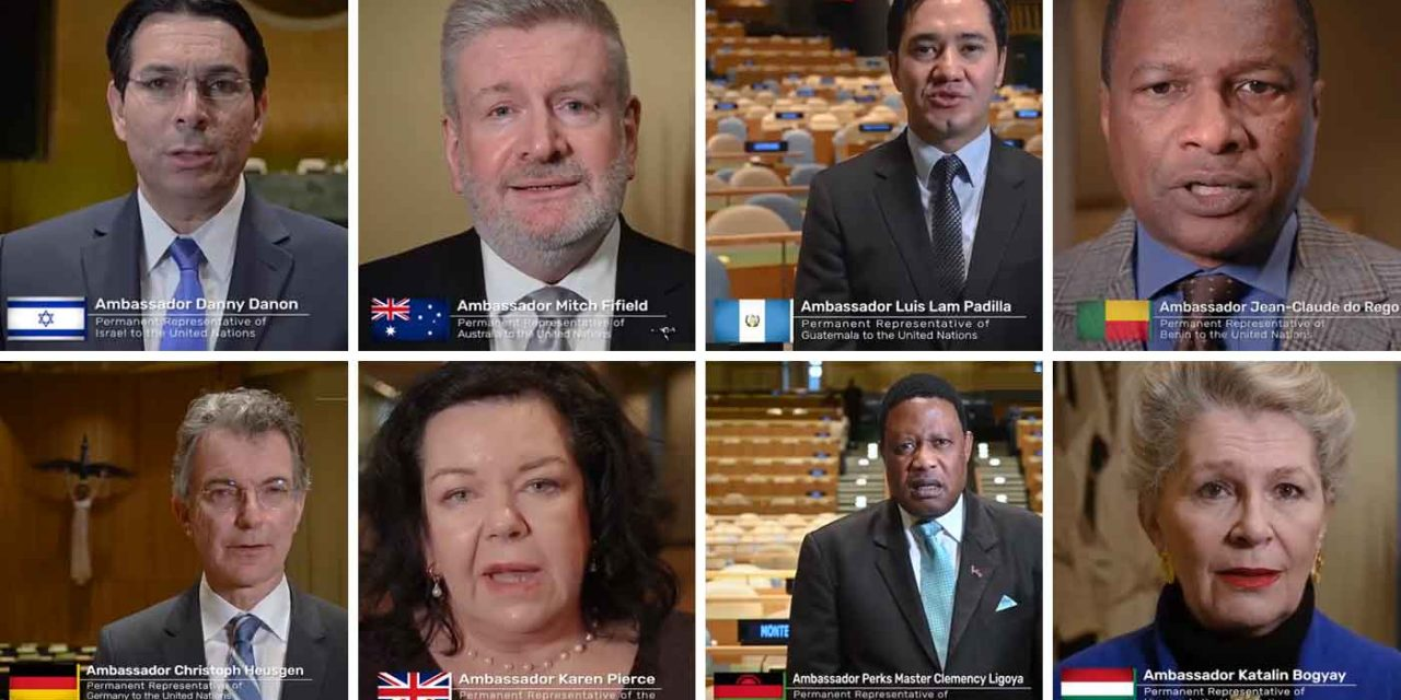 "UN Ambassadors release video for Holocaust Remembrance Day – ""Never again means never again!"""