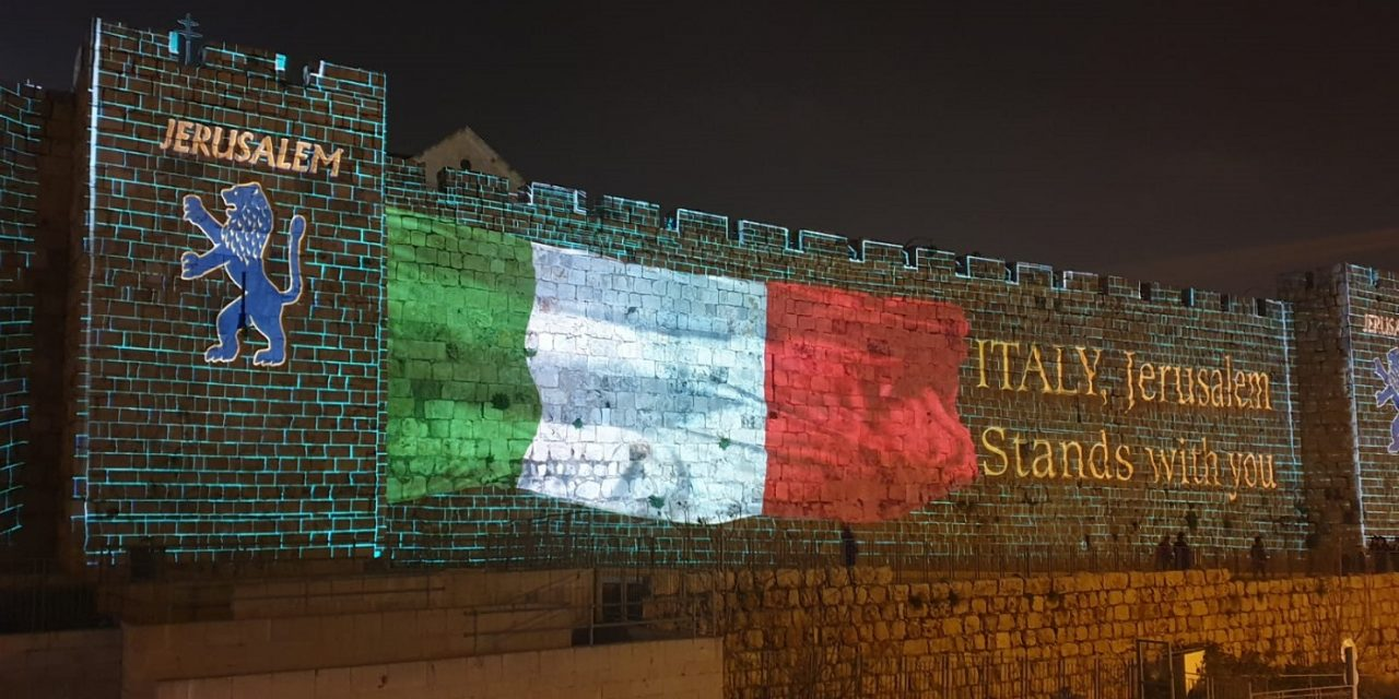 Jerusalem lights up ancient walls in solidarity with coronavirus-hit Italy