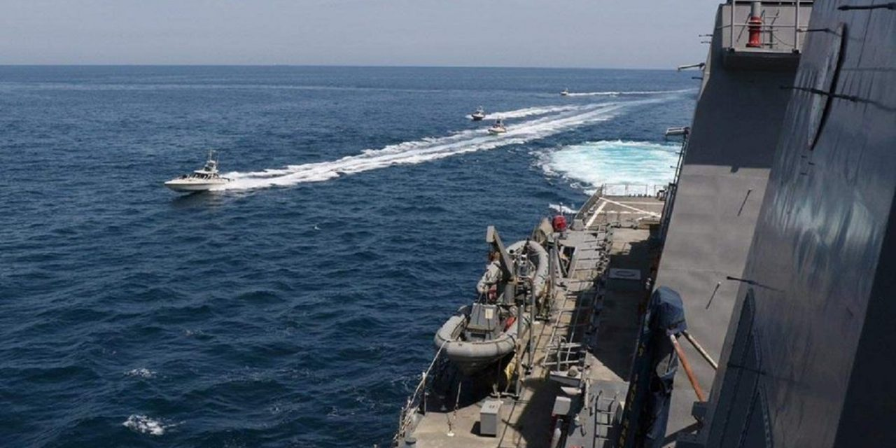ELEVEN Iranian vessels intimidate US warships on Wednesday