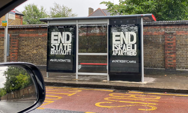 London: Anti-Israel poster illegally placed on bus stop alongside BLM poster