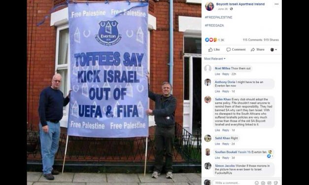 Everton FC to investigate anti-Israel banner and misuse of club emblem
