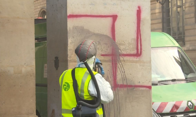Swastikas spray-painted along Rue de Rivoli in Paris