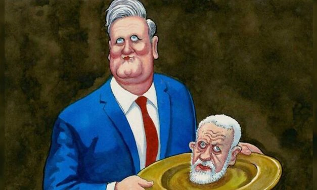 The Guardian in hot water for cartoon of Starmer holding Corbyn's head on platter