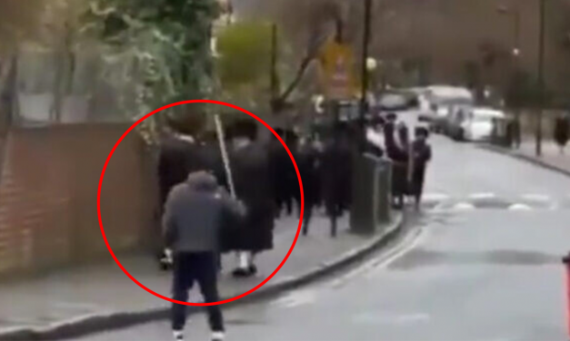 London police arrest man chasing and threatening Jew families with large stick
