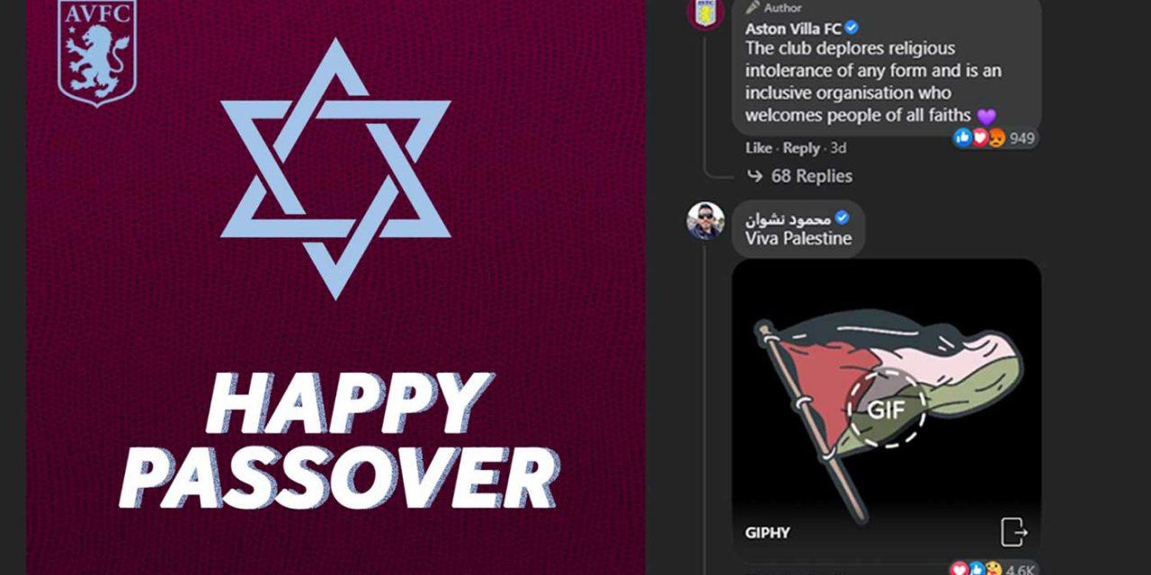 Aston Villa's Passover message hijacked by anti-Semites