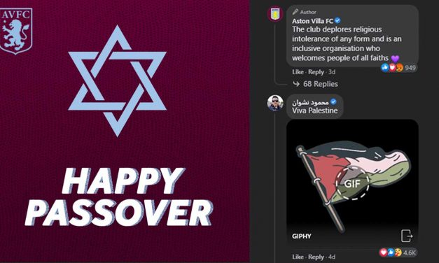 Aston Villa's Passover message hijacked by anti-Semites