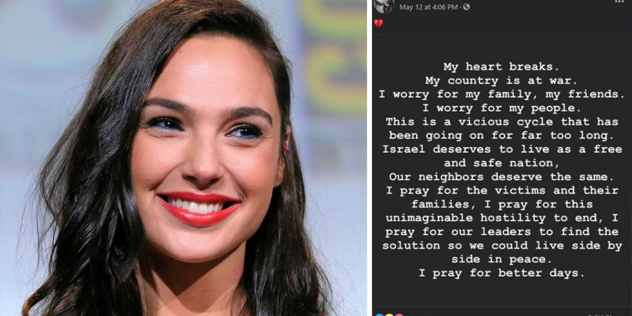 Hollywood actress Gal Gadot sends support for Israel, prays for peace