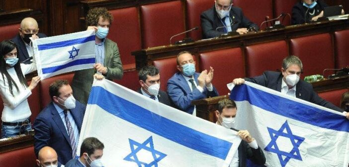 Italian MPs unveil Israel flags in parliament