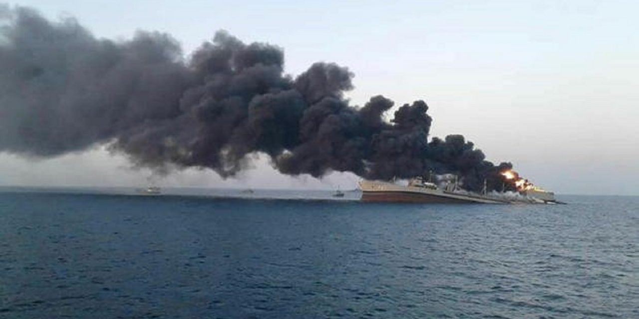 Iran's largest warship sinks after fire