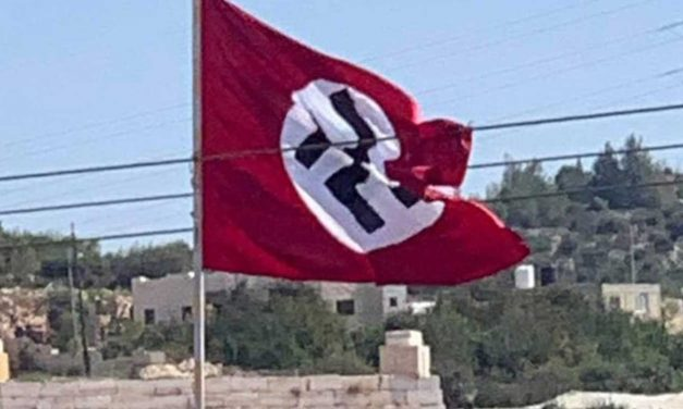 Palestinians fly Nazi flag near Hebron; IDF soldier shoots it down
